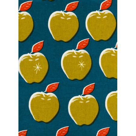 M0025-022 Picnic - Apples - Teal/Mustard Canvas Fabric