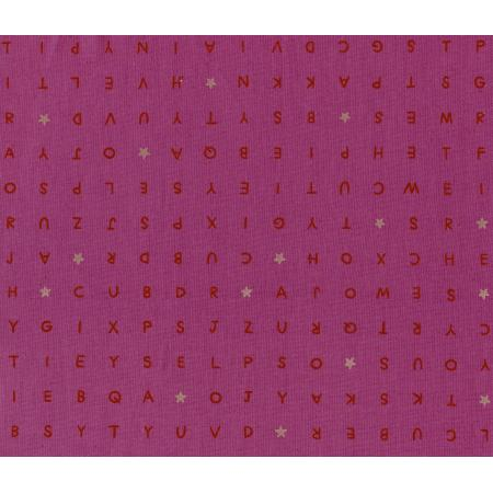 M0014-002 Playful - Word Find - Pink Unbleached Cotton Fabric