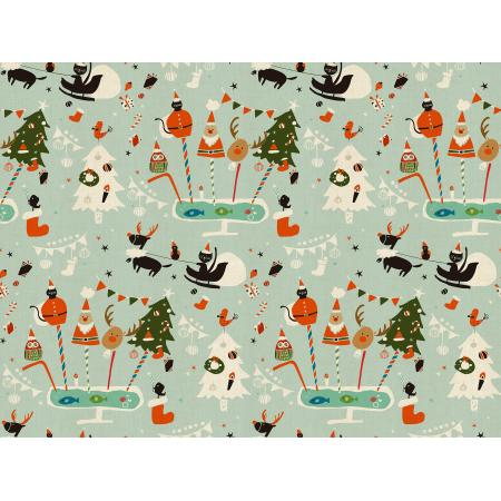 NM200-AQ2U Waku Waku Christmas - Holiday Party - Aqua Unbleached Fabric