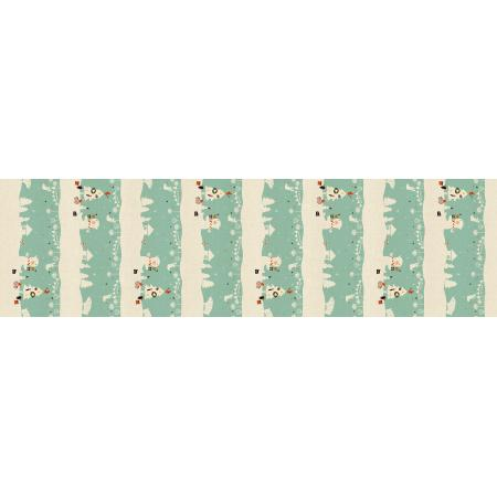 NM201-AQ2U Waku Waku Christmas - Mr. Polar Bear - Aqua Unbleached Fabric