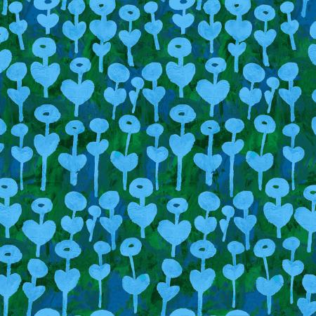 OE101-AZ5R Once Upon a Time - Love Flower - Azure Rayon Fabric