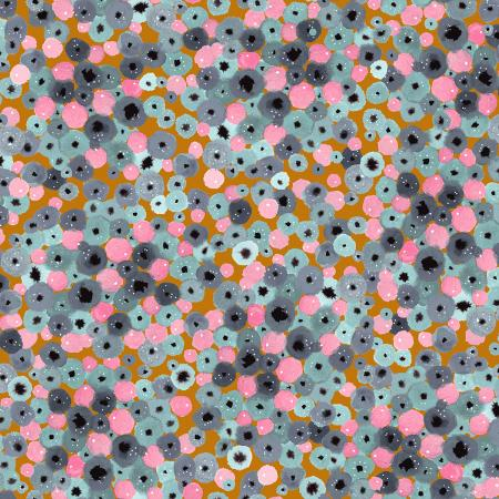 PK104-SL3P Girl\'s Club - Flower Fountain - Slate White Pigment Fabric 1