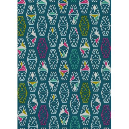 R1957-001 Lagoon - Lively Lanterns - Dark Teal Unbleached Cotton Fabric