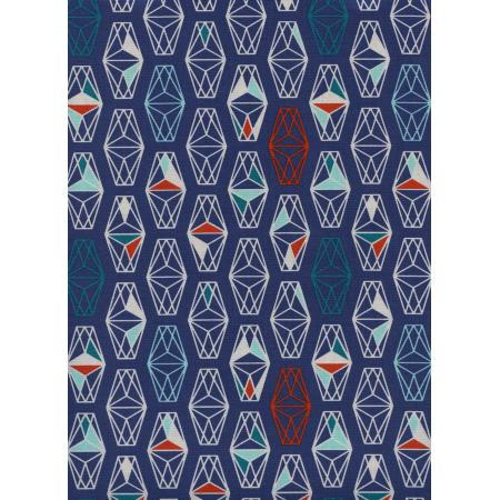 R1957-002 Lagoon - Lively Lanterns - Misty Unbleached Cotton Fabric