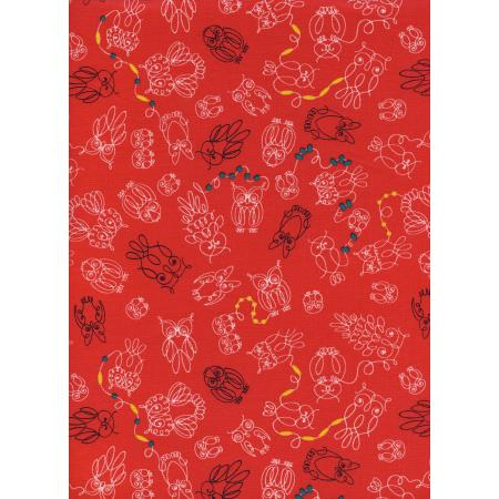 R1930-001 Macrame - Owl Bead There - Tomato Fabric