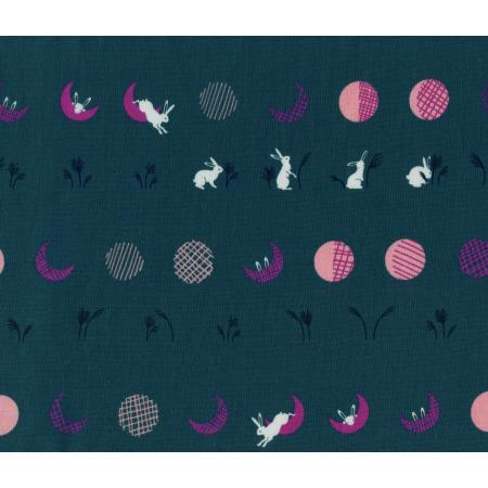 R1912-001 Mochi - Moon Bunnies - Teal Fabric