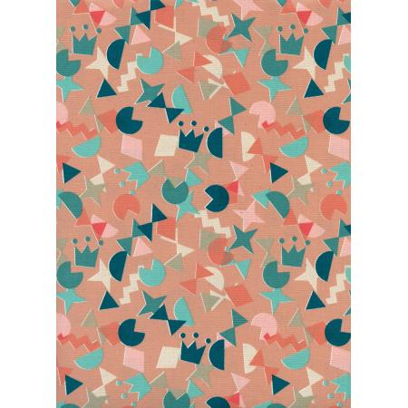R1964-002 Paper Cuts - Shape Up - Peachy Unbleached Cotton Fabric