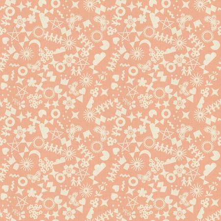 R1968-004 Paper Cuts - Cut It Out - Peachy Unbleached Cotton Fabric