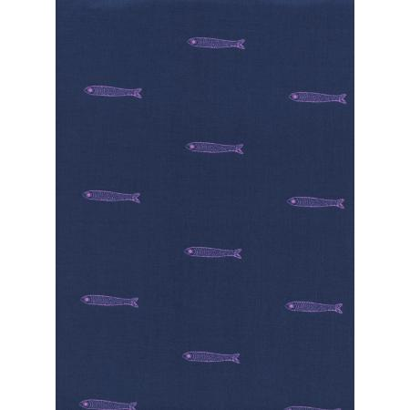 S2041-021 From Porto With Love - Fishes - Navy Lawn Fabric