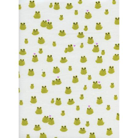 S2072-001 Front Yard - Frogs - Green Fabric