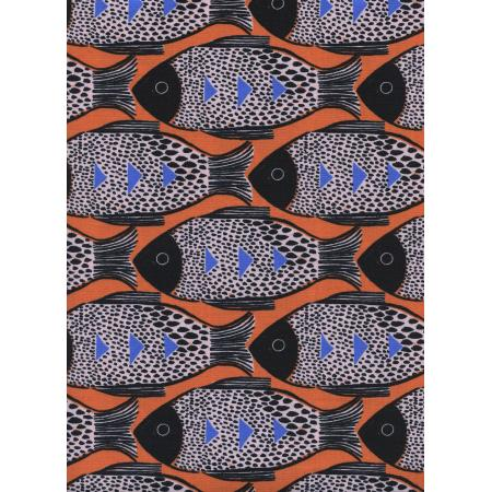 S2054-001 Magic Forest - Fish - Orange Fabric