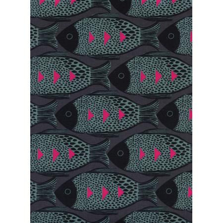 S2054-002 Magic Forest - Fish - Charcoal Fabric