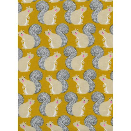 S2056-001 Magic Forest - Squirrels - Yellow Neon Pigment Fabric