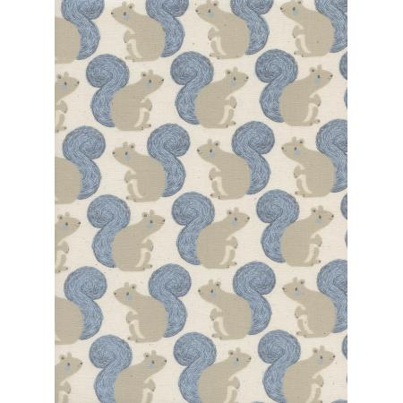 S2056-002 Magic Forest - Squirrels - Neutral Unbleached Cotton Fabric