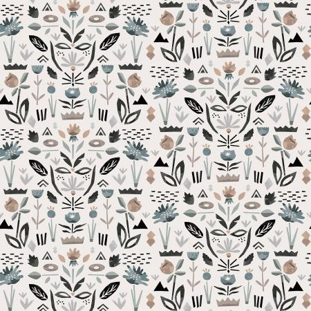 ST104-PE3 In Bloom - Floral Garden - Pebble Fabric 1