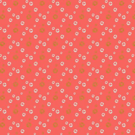 VB104-WA2M Mountains, Rocks, and Pebbles - River Pebbles - Watermelon Metallic Fabric 1